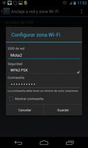 Menu Ajustes Configurar Zona WiFI