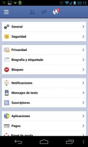 Ajustes facebook configurar cuentas