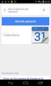 Pantallazo OK Google abrir calendario