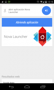 Pantallazo OK Google abrir nova launcher