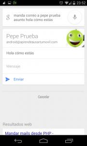 Pantallazo OK Google mandar un email