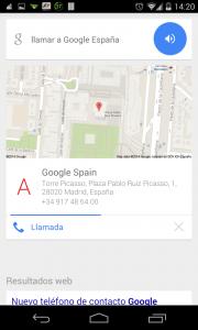Pantallazo OK Google llamar Google España