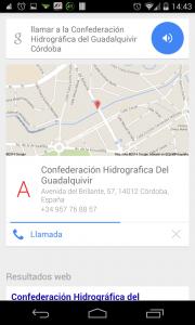 Pantallazo OK Google llamar Confederación Hidrográfica del Guadalquivirr
