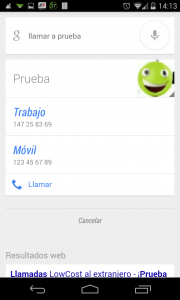 Pantallazo OK Google llamada con múltiples opciones