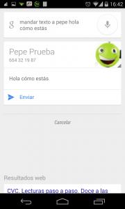 Pantallazo OK Google mandar SMS