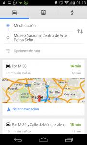 Pantallazo OK Google ruta Maps segundo paso