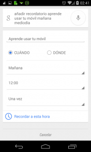 Pantallazo Ok Google anadir recordatorio ejemplo 2