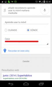 Pantallazo Ok Google anadir recordatorio ejemplo Ubicación